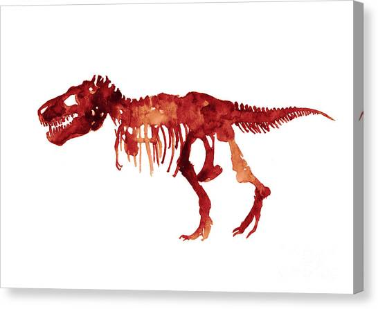 Dinosaurs Canvas Print - Tyrannosaurus Rex Skeleton Poster, T Rex Watercolor Painting, Red Orange Animal World Art Print by Joanna Szmerdt