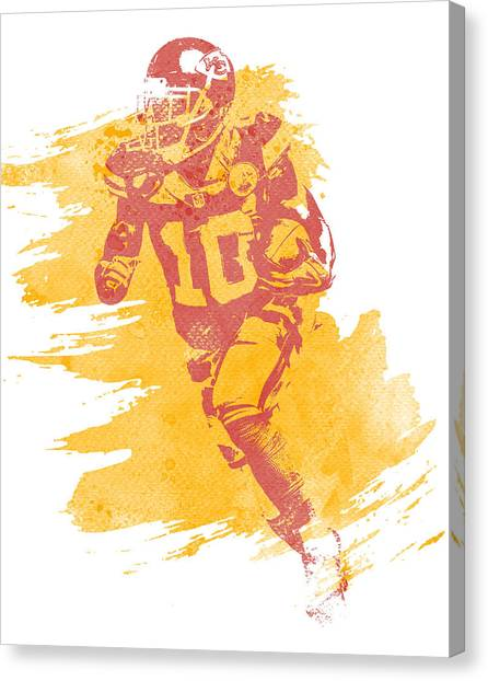 Kansas City Chiefs Canvas Print - Tyreek Hill Kansas City Chiefs Water Color Art 1 by Joe Hamilton