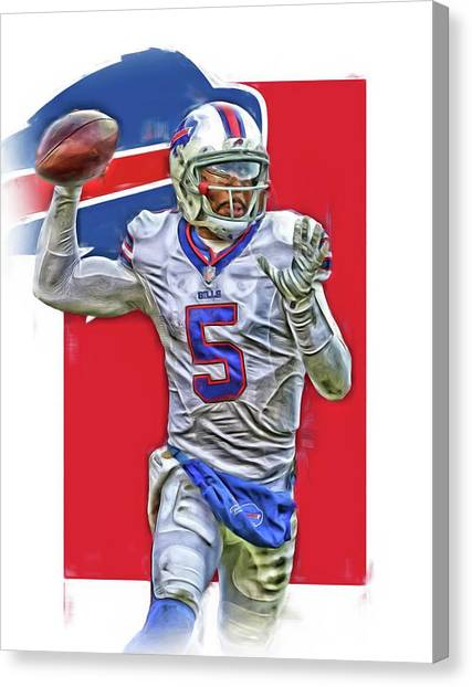 Buffalo Bills Canvas Print - Tyrod Taylor Buffalo Bills Oil Art 2 by Joe Hamilton
