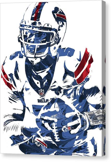 Buffalo Bills Canvas Print - Tyrod Taylor Buffalo Bills Pixel Art by Joe Hamilton