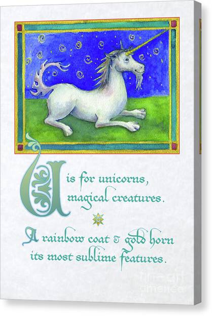 U Is For Unicorn Canvas Print