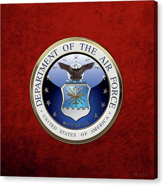 U. S.  Air Force  -  U S A F Emblem Over Red Velvet Canvas Print