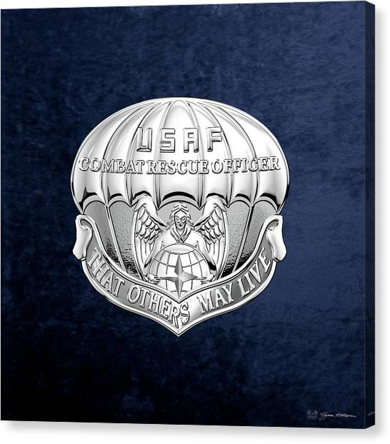 Acc Canvas Print - U. S.  Air Force Combat Rescue Officer - C R O Badge Over Blue Velvet by Serge Averbukh