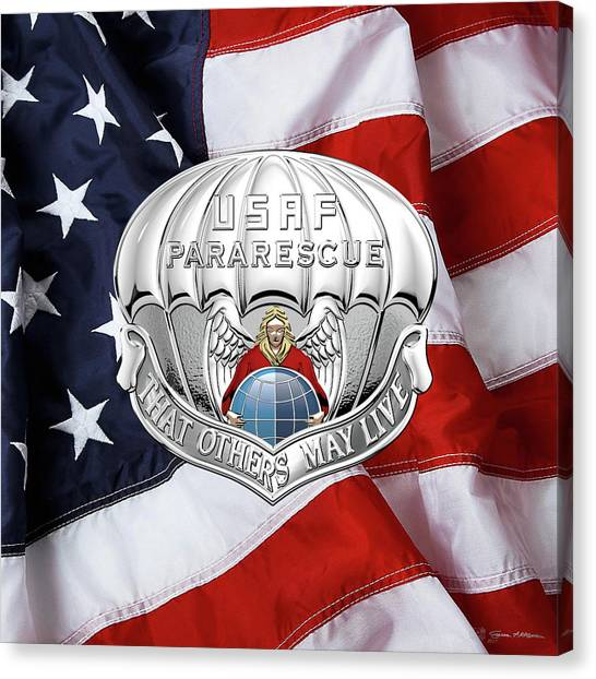 Acc Canvas Print - U. S.  Air Force Pararescuemen - P J Badge Over American Flag by Serge Averbukh