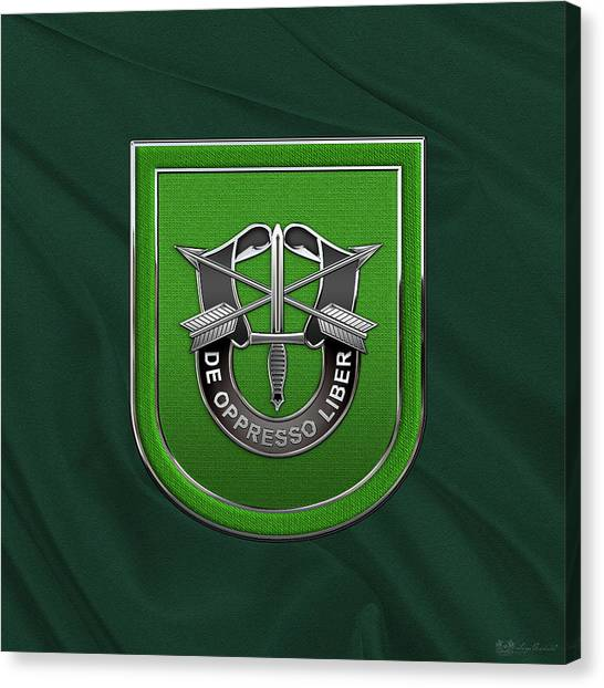 Green Berets Canvas Print - U. S.  Army 10th Special Forces Group - 10 S F G  Beret Flash Over Green Beret Felt by Serge Averbukh