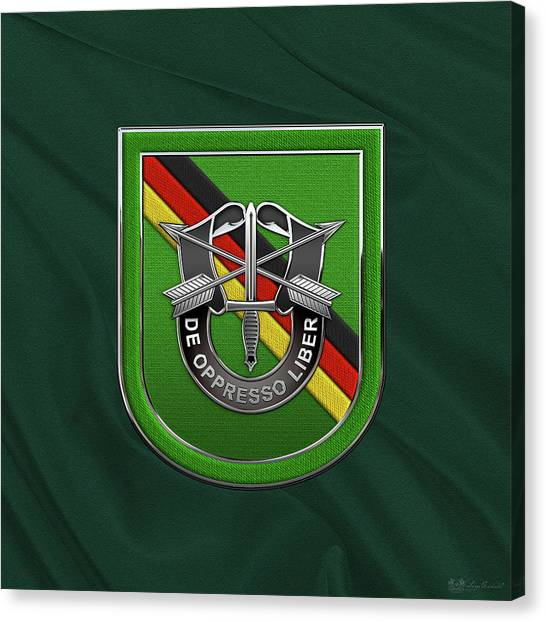 Green Berets Canvas Print - U. S.  Army 10th Special Forces Group Europe - 10 S F G  Beret Flash Over Green Beret Felt by Serge Averbukh