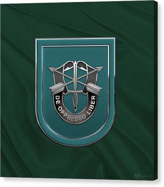Green Berets Canvas Print - U. S.  Army 19th Special Forces Group - 19 S F G  Beret Flash Over Green Beret Felt by Serge Averbukh