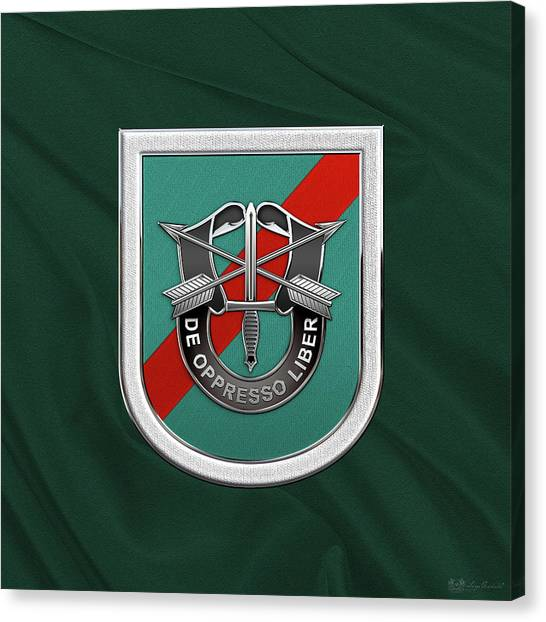 Green Berets Canvas Print - U. S.  Army 20th Special Forces Group - 20 S F G  Beret Flash Over Green Beret Felt by Serge Averbukh