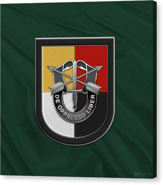Special Forces Canvas Print - U. S.  Army 3rd Special Forces Group - 3  S F G  Beret Flash Over Green Beret Felt by Serge Averbukh