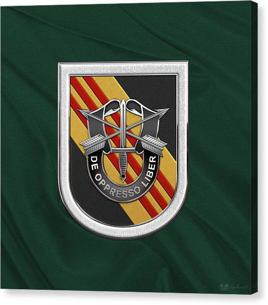 Special Forces Canvas Print - U. S.  Army 5th Special Forces Group Vietnam - 5 S F G  Beret Flash Over Green Beret Felt by Serge Averbukh