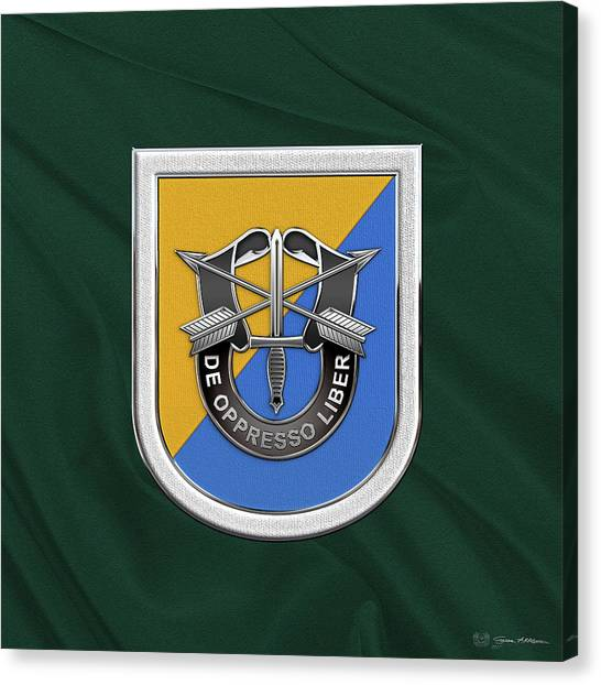 Green Berets Canvas Print - U. S.  Army 8th Special Forces Group - 8 S F G  Beret Flash Over Green Beret Felt by Serge Averbukh