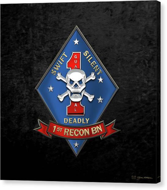U S M C  1st Reconnaissance Battalion -  1st Recon Bn Insignia Over Black Velvet Canvas Print