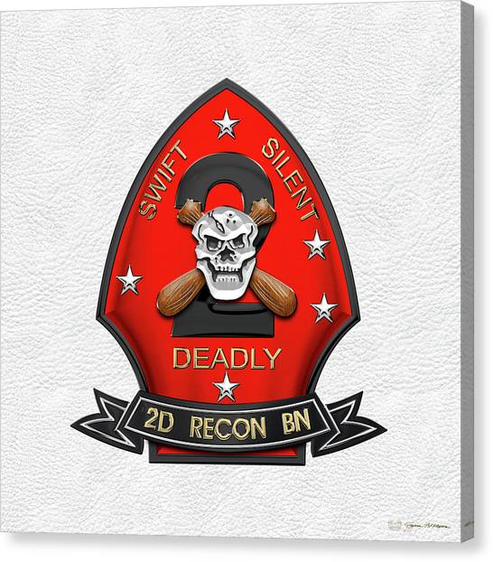 U S M C  2nd Reconnaissance Battalion -  2nd Recon Bn Insignia Over White Leather Canvas Print