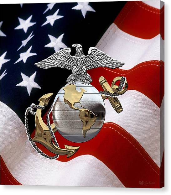 U S M C Eagle Globe And Anchor - C O And Warrant Officer E G A Over U. S. Flag Canvas Print
