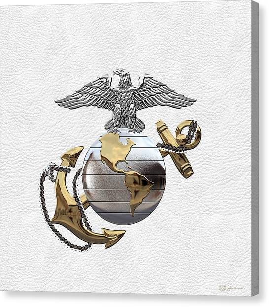 U S M C Eagle Globe And Anchor - C O And Warrant Officer E G A Over White Leather Canvas Print