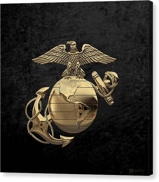U S M C Eagle Globe And Anchor - N C O And Enlisted E G A Over Black Velvet Canvas Print