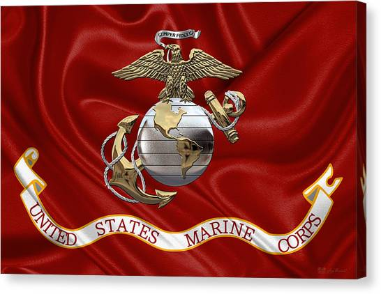 U. S.  Marine Corps - U S M C Eagle Globe And Anchor Over Corps Flag Canvas Print