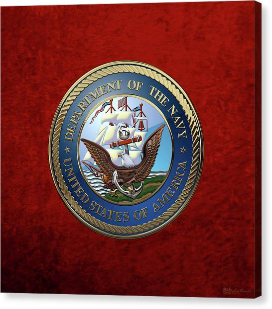 U. S.  Navy  -  U S N Emblem Over Red Velvet Canvas Print