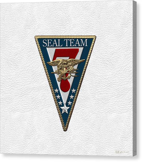 7 Seals Canvas Print - U. S. Navy S E A Ls - S E A L Team Seven  -  S T 7  Patch Over White Leather by Serge Averbukh