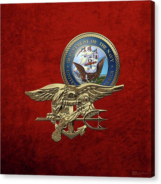 Navy Seal Canvas Print - U. S. Navy S E A Ls Trident Over Red Velvet by Serge Averbukh