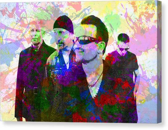 U2 Canvas Print - U2 Band Portrait Paint Splatters Pop Art by Design Turnpike