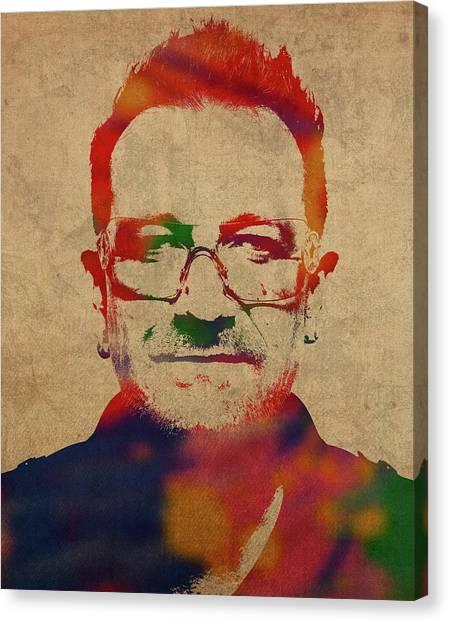 Bono Canvas Print - U2 Bono Watercolor Portrait by Design Turnpike