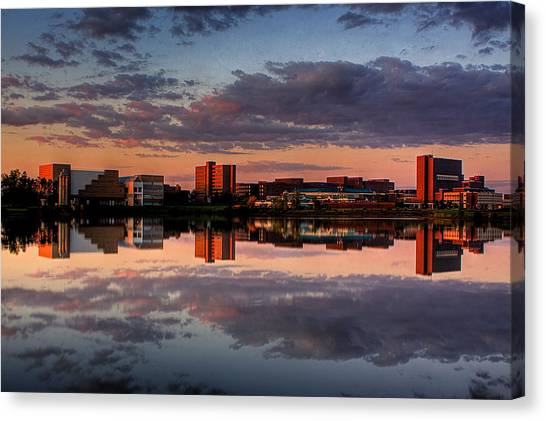 University At Buffalo University At Buffalo Canvas Print - Ub Campus Across The Pond by Don Nieman