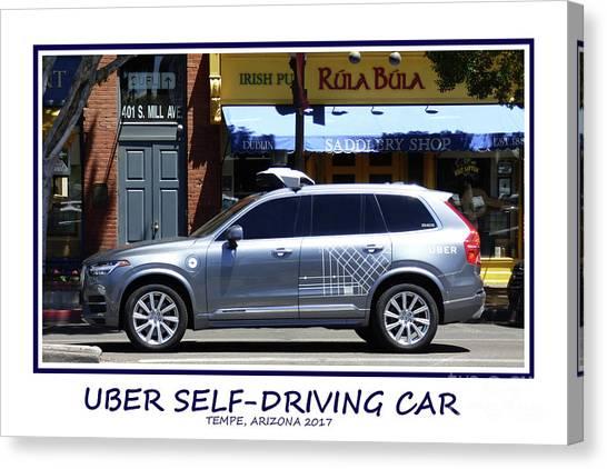 Arizona State University Asu Tempe Canvas Print - Uber Self-driving Car 2017 by Kare Dey