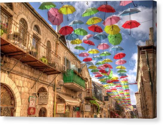 Umbrellas Over Jerusalem Canvas Print