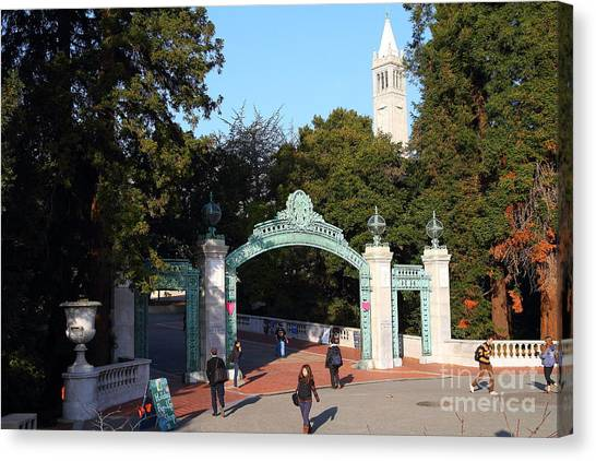 Uc Berkeley Canvas Print - Uc Berkeley . Sproul Plaza . Sather Gate And Sather Tower Campanile . 7d10025 by Wingsdomain Art and Photography