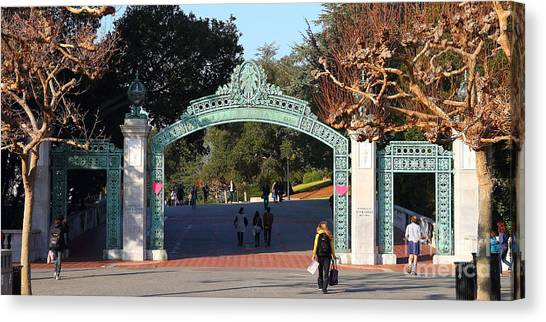 Uc Berkeley Canvas Print - Uc Berkeley . Sproul Plaza . Sather Gate . Wide Size . 7d10020 by Wingsdomain Art and Photography