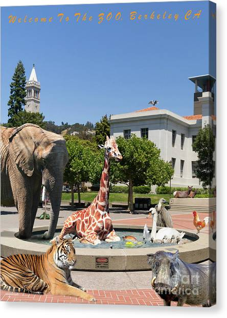Uc Berkeley Canvas Print - Uc Berkeley Welcomes You To The Zoo Please Do Not Feed The Animals Dsc4086 Vertical With Text by Wingsdomain Art and Photography