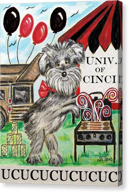 University Of Cincinnati Canvas Print - Uc Tailgating Dog by Diane Pape
