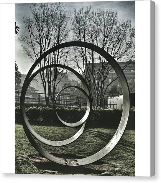 Ucla Canvas Print - #ucla #sunset #circle #sculpture #art by Andrei Andries