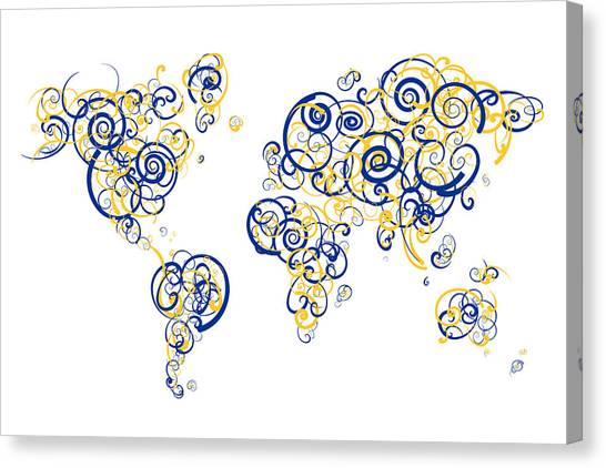 Ucsb Canvas Print - Ucsb Colors Swirl Map Of The World Atlas by Jurq Studio