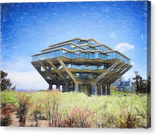Big West Canvas Print - Ucsd Library Drawing by Nancy Ingersoll