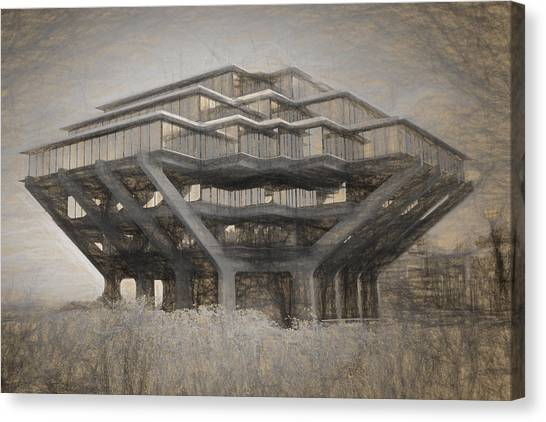 Big West Canvas Print - Ucsd Library Sketch by Nancy Ingersoll