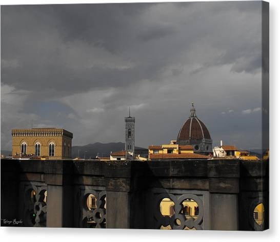 The Uffizi Gallery Canvas Print - Uffizi Gallery Terrace View by Ginger Repke