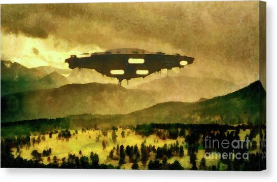 Monster Ufo Canvas Print - Ufo In The Country by Raphael Terra