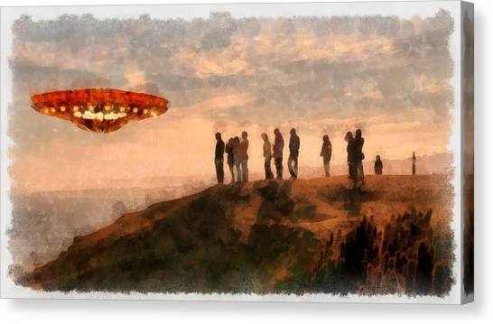 Ufo Canvas Print - Ufo Spotting by Esoterica Art Agency