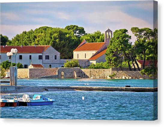 Ugljan Island Village Old Church And Beach View Canvas Print