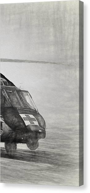 Medivac Canvas Print - Uh-60 Black Hawk Triptych 3 by Tommy Anderson
