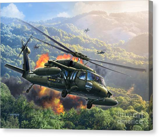 Helicopters Canvas Print - Uh-60 Blackhawk by Stu Shepherd
