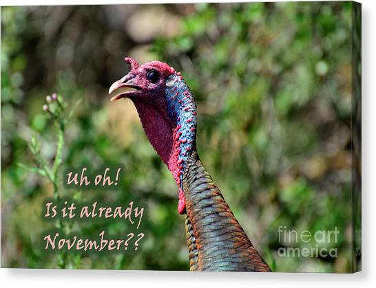 Turkey Dinner Canvas Print - Uh Oh by Debby Pueschel