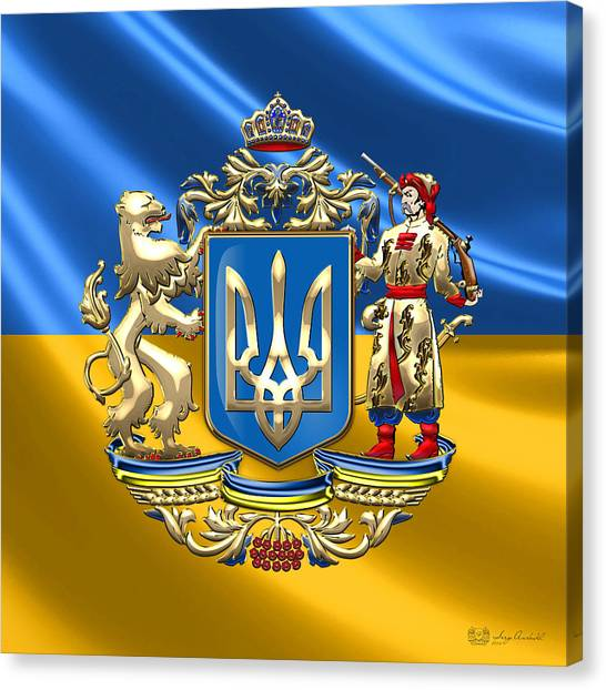 Smallmouth Bass Canvas Print - Ukraine - Greater Coat Of Arms  by Serge Averbukh