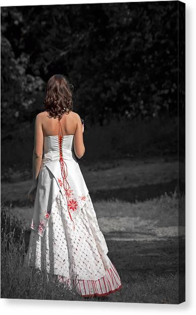 Wedding Gown Canvas Print - Ukrainian Bride by Evelina Kremsdorf