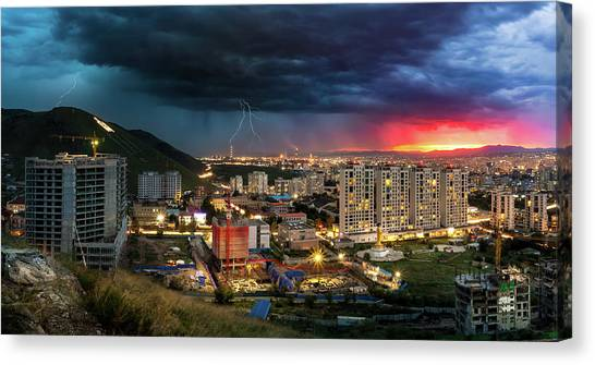 Ulaanbaatar Sunset Thunderstorm Canvas Print