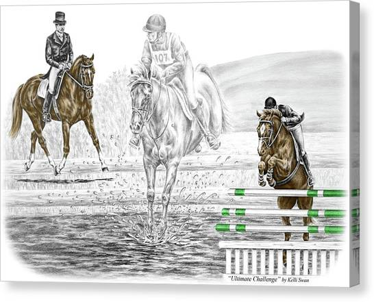 Ultimate Challenge - Horse Eventing Print Color Tinted Canvas Print