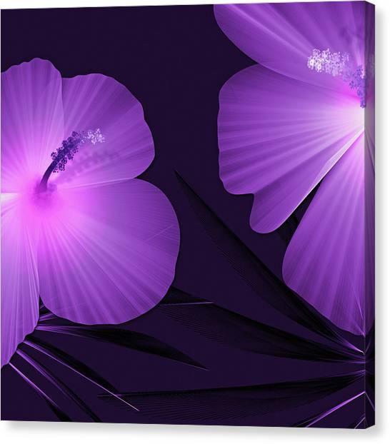 Ultraviolet Hibiscus Tropical Nature Print  Canvas Print