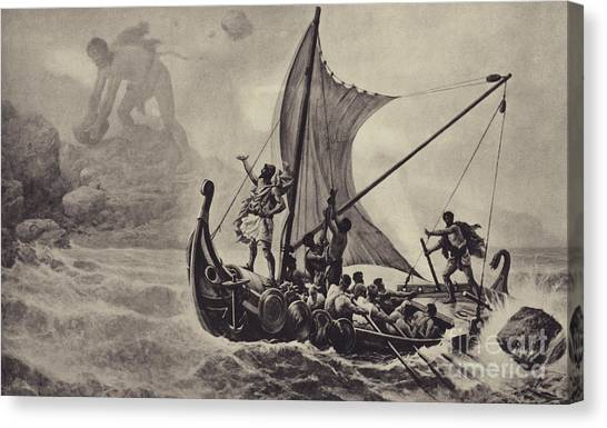 Cyclops Canvas Print - Ulysses Deriding The Cyclops by Louis-Frederic Schutzenberger